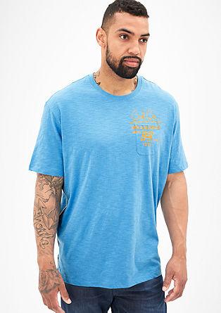 Majica iz plamenaste preje z natisnjenim napisom