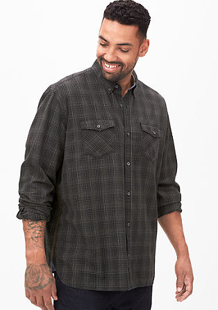 Regular: bombažna bluza s karirastim vzorcem
