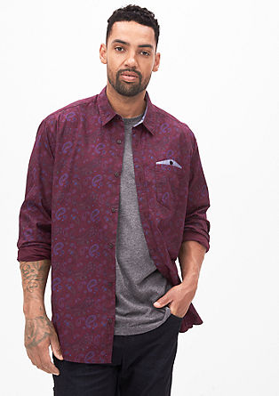 Regular: patterned shirt with a chest pocket from s.Oliver