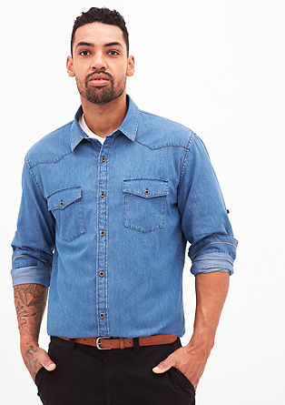 Regular: Shirt met denim look