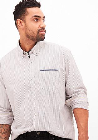 Regular: Gestreiftes Langarmhemd