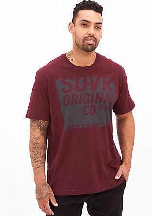 T-shirt met effen print