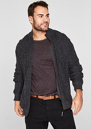 Melierte Strickjacke mit Zipper