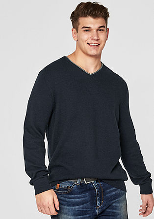 Pullover mit Kontrast-Ausschnitt
