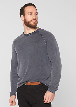 Strukturstrick-Pullover in Garment Dye