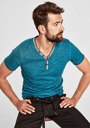 Tall Size: Meliertes Henley-Shirt