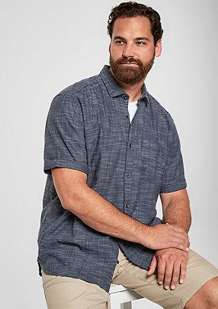 Regular: Baumwollhemd mit Webmuster
