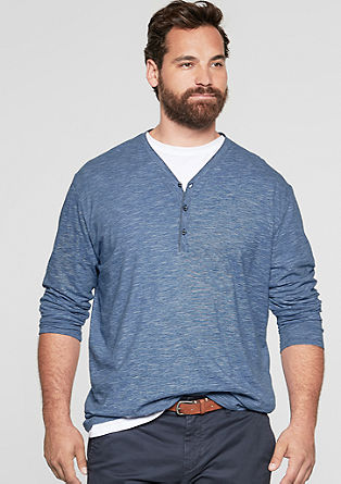 Slim: Henley-Shirt in Melange-Optik