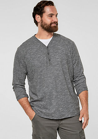 Slim: Henley top with a melange effect from s.Oliver
