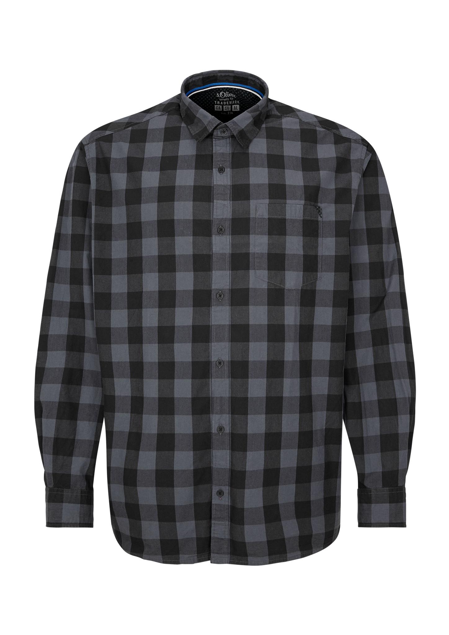 Karohemd | Bekleidung | Grau/schwarz | 100% baumwolle | s.Oliver Men Big Sizes