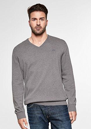Basic fino pleten pulover z V-izrezom