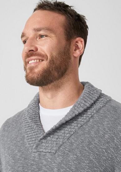 Slub Yarn-Pullover mit Schalkragen