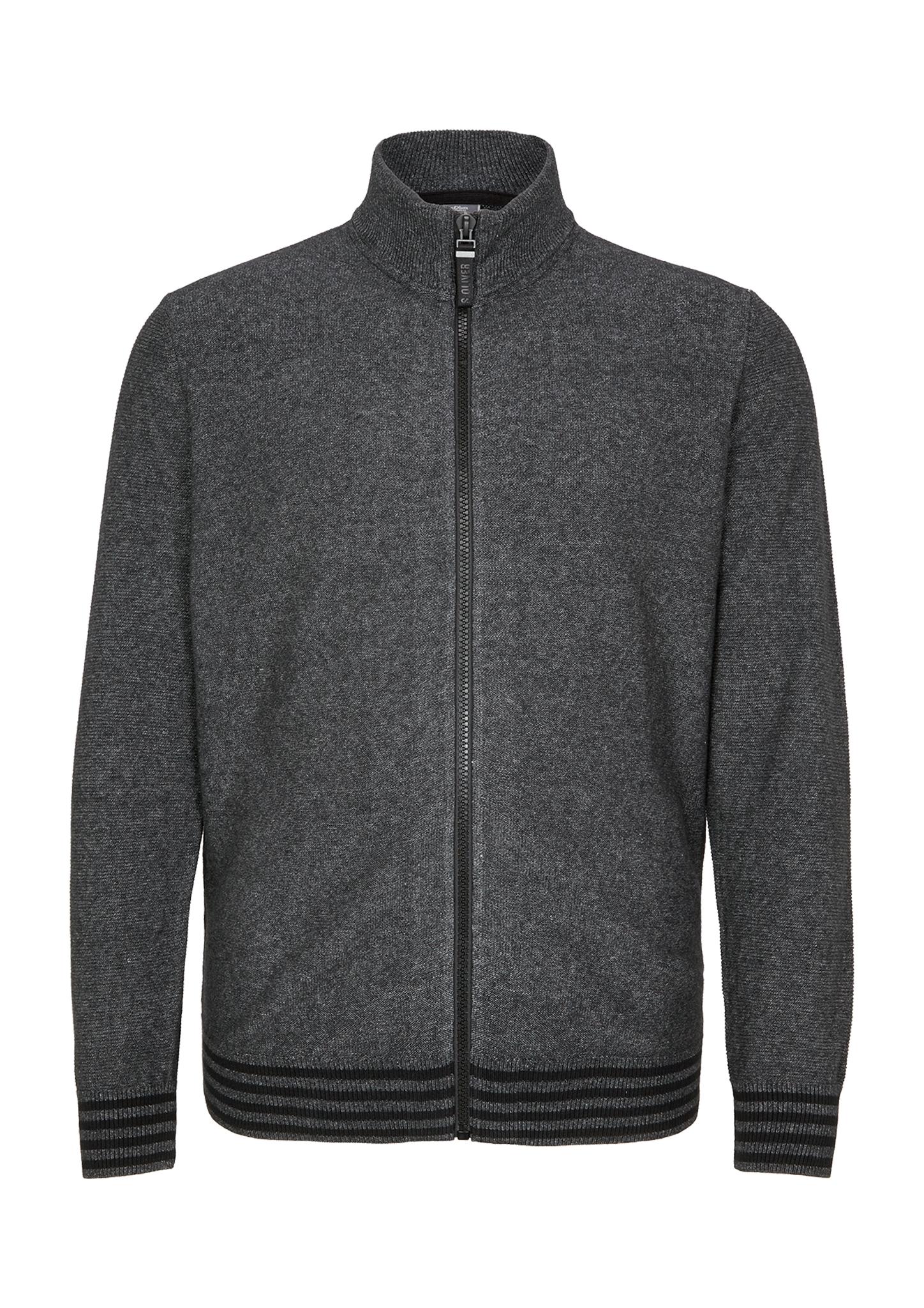 Strickjacke | Bekleidung > Strickjacken & Cardigans > Strickjacken | Grau/schwarz | 100% baumwolle | s.Oliver Men Big Sizes