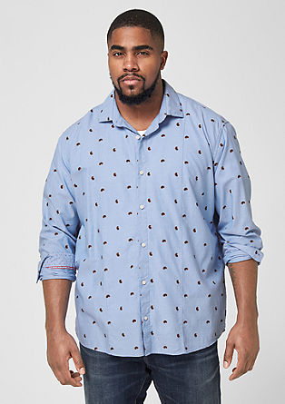 Regular: Oxford shirt with a minimalist pattern from s.Oliver