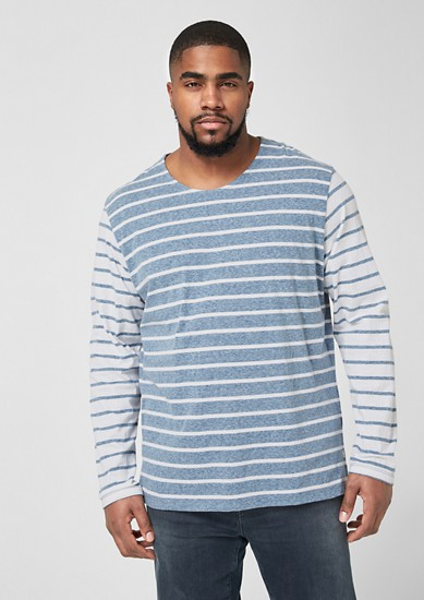 Striped top with contrasting sleeves from s.Oliver