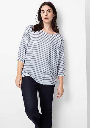 Blouse top with a striped pattern from s.Oliver