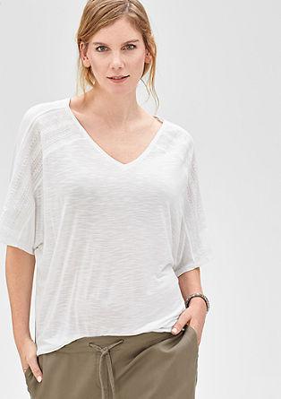 Flammgarn-Shirt mit bestickter Blende