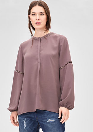 Bluse mit Pompon-Bordüren