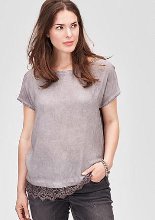 Blouse top with a pigment-dyed finish from s.Oliver