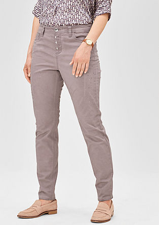 Fancy fit: stretch trousers with studs from s.Oliver