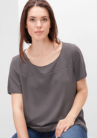 Blouse top with decorative stitching from s.Oliver