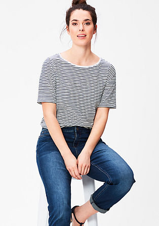 Striped top with a metallic print from s.Oliver