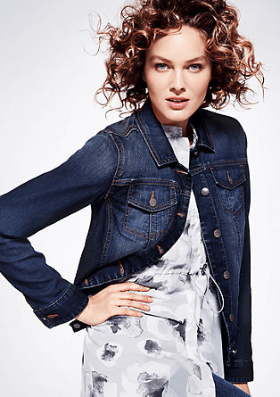 Stretch denim jacket in a boxy design from s.Oliver