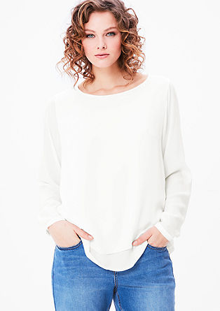 Crêpe blouse with layering from s.Oliver