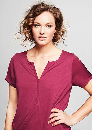 Webmix-Shirt mit Y-Ausschnitt
