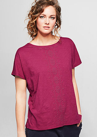 Slub top in an embroidered look from s.Oliver