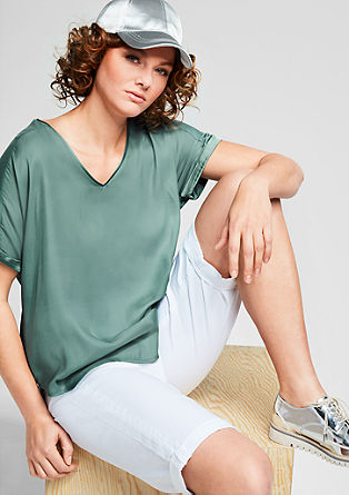 High-low blouse top with a V-neckline from s.Oliver