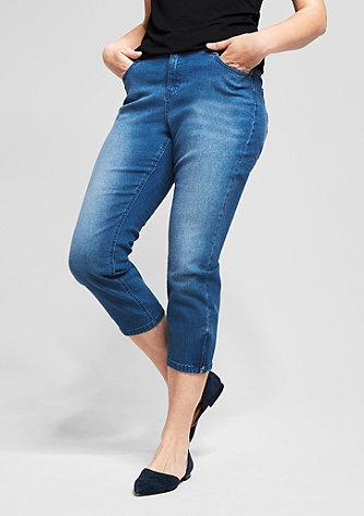 Curvy: Ankle-Jeans mit Zippern