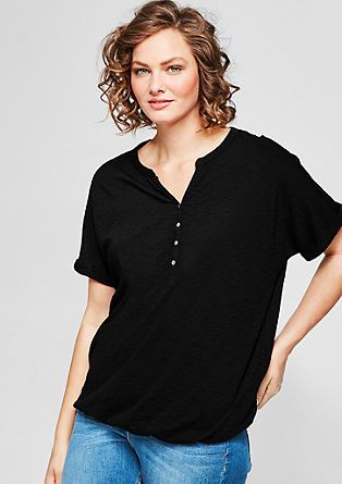 Batwing sleeve top with a button placket from s.Oliver
