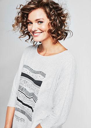 Melange-Shirt mit Pailletten-Streifen