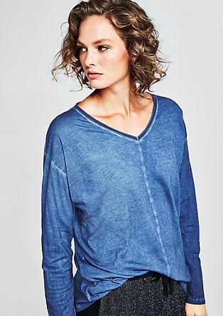 Cold pigment-dyed shirt met V-hals