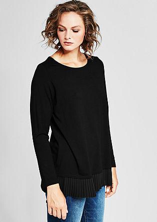 Jersey-Shirt mit Plissée-Blende