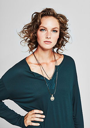 Viscose top with lace details from s.Oliver