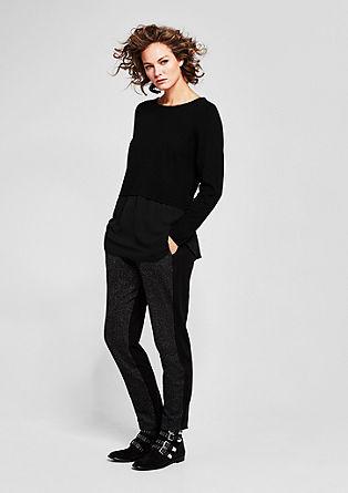 Pullover mit Crêpe-Blende