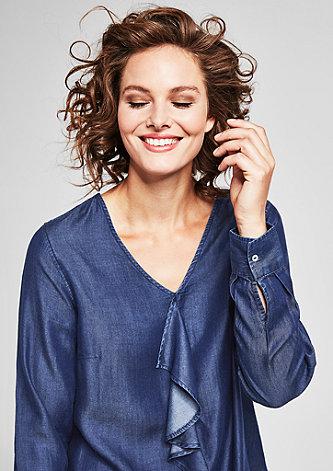 Jeansbluse mit Volant-Blende