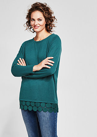 Knitted jumper with a decorative lace border from s.Oliver