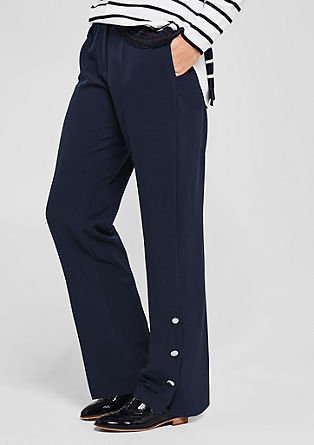 Waist-pleat trousers with button details from s.Oliver