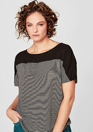 T-shirt with textured lurex stripes from s.Oliver