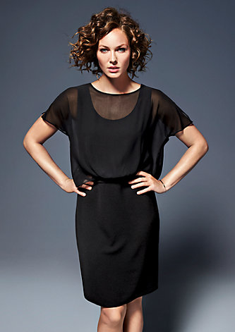 Layer-Kleid mit Chiffonbluse