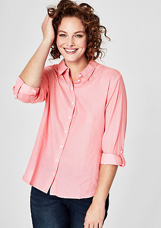 Chambray blouse met coloured look