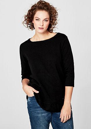 Sweatshirt met chiffon rand