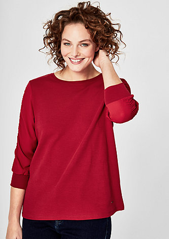 Sweatshirt mit Chiffonärmeln