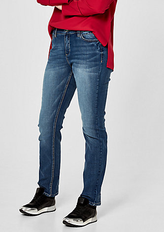 Curvy Slim: Jeans im Used-Look