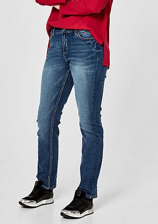Curvy Slim: Jeans im Used-Look