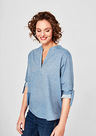 Chambray tunic with straps on the sleeves from s.Oliver
