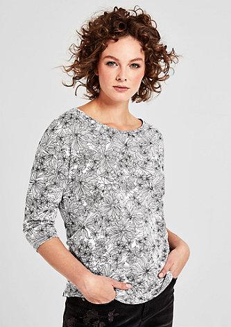 Flammgarnshirt mit floralem Print